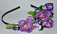 Обруч для волос с фиолетовыми цветами
