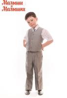 Детский серый костюм с бабочкой и галстуком