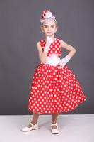 Платье красное в горошек-ретро